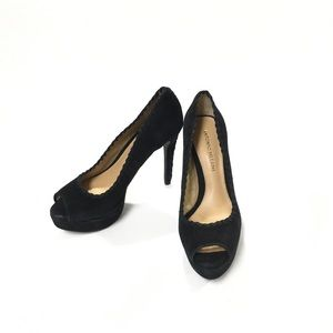 Antonio Melani Black Suede Peep Toe Pumps SZ 6.5